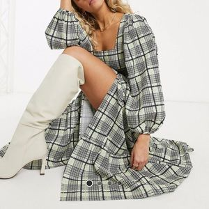 Plaid Tiered Petite Dress